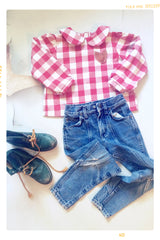 Red White Check Plaid Blouse. Long Sleeves. Peter Pan Collar. Fleur + Dot.