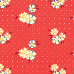 Red vintage floral cotton for Fleur + Dot. Vintage and Hand Made in the USA.