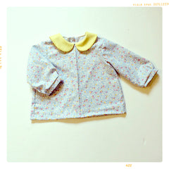 peter pan collar girls vintage blouse in sky blue and sun yellow.