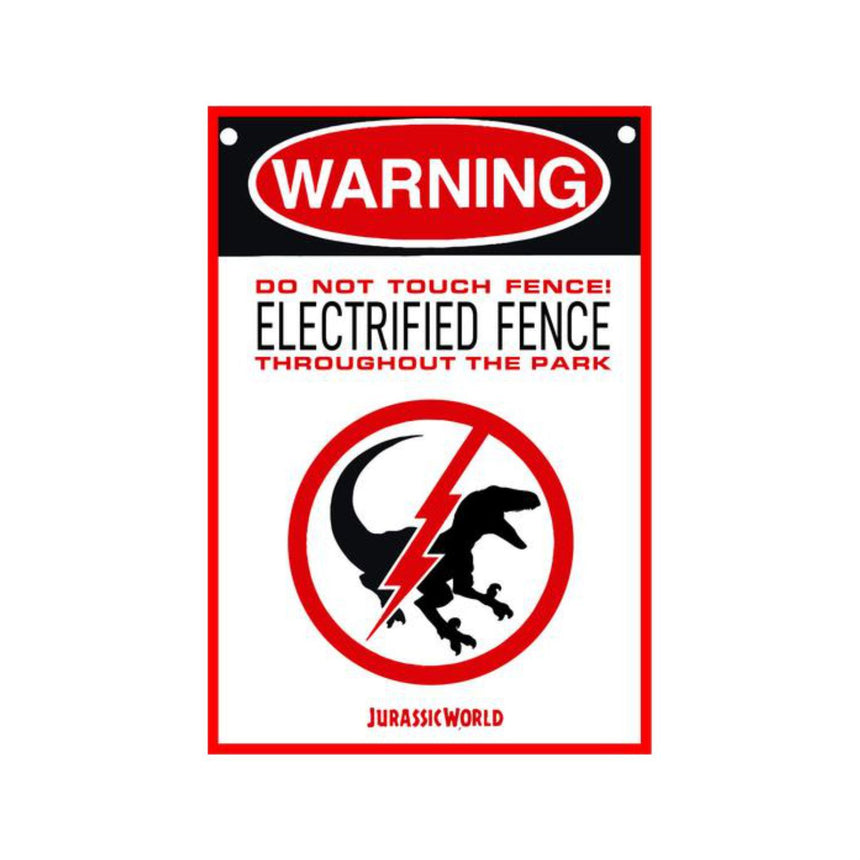 Jurassic Park Electrified Fence Sign