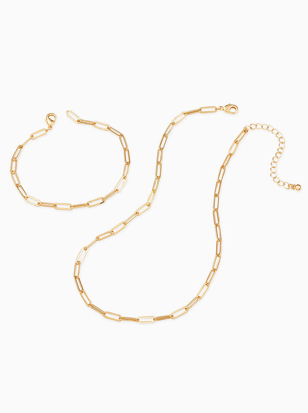 Trendy Chain Bracelets & Necklaces Set-Thin