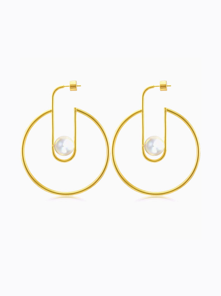 Geometric Hoops Pearls Earrings