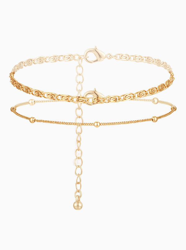 Double Circle Gold Dainty Anklets