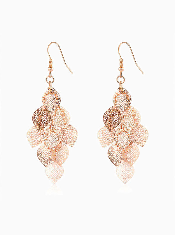 Filigree Leaf Drop Dangling Earrings