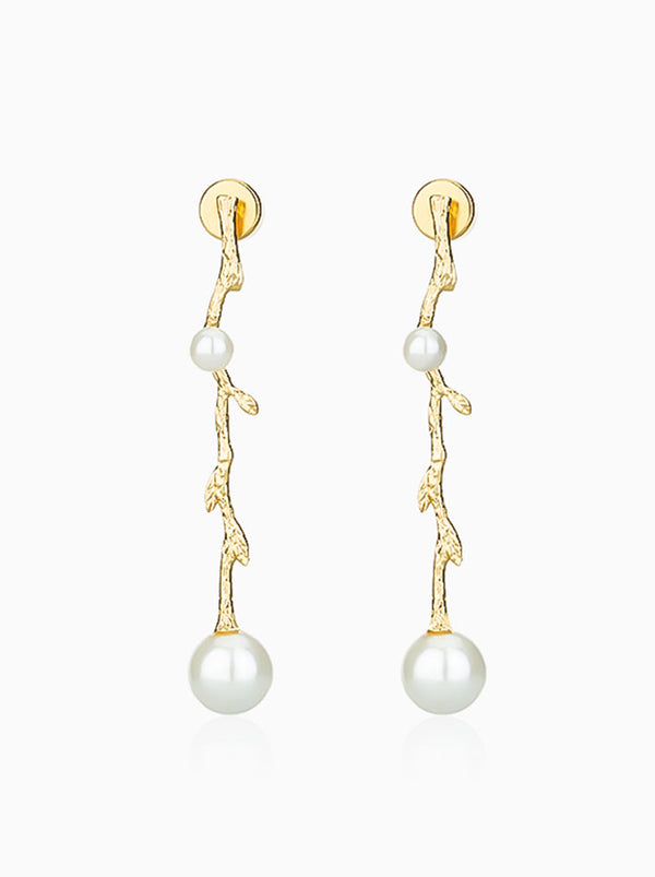 Twig Pearl Dangling Earrings