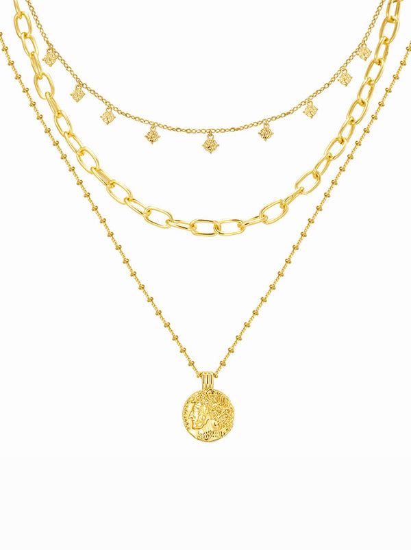 Chic Tri-Layered Coin Pendant Necklace