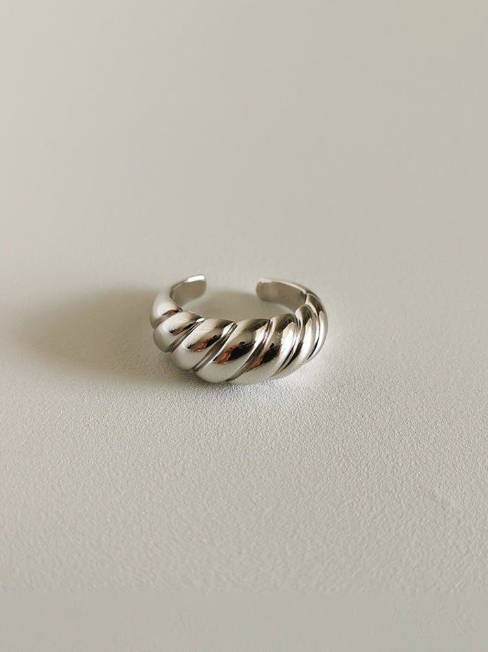 S925 Sterling Silver Croissant Dome Chunky Ring