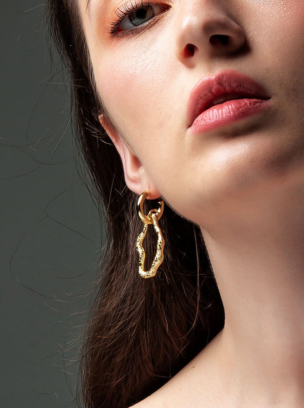 Gold Sculpture &  Hoop Earrings