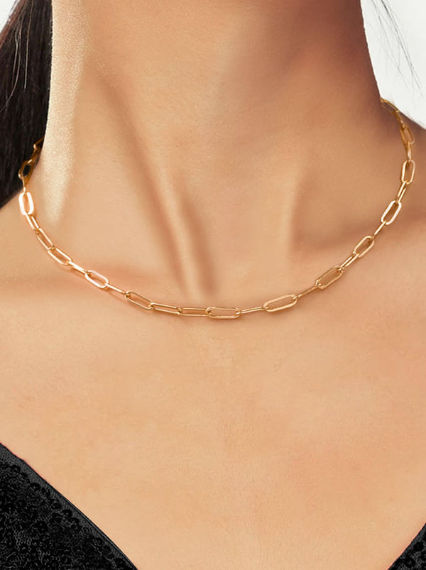 Paperclip Chain Necklace-Thin