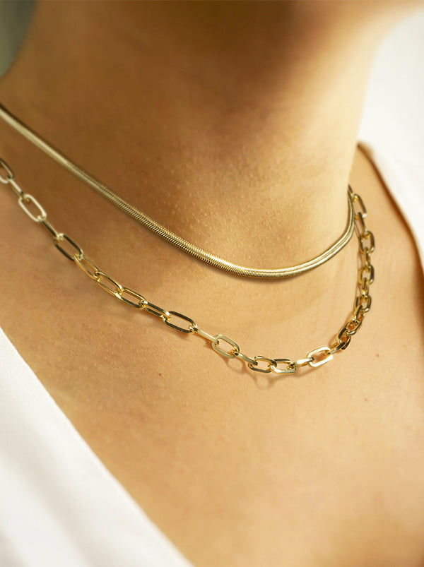 Layer Snake & Herringbone Choker Necklace