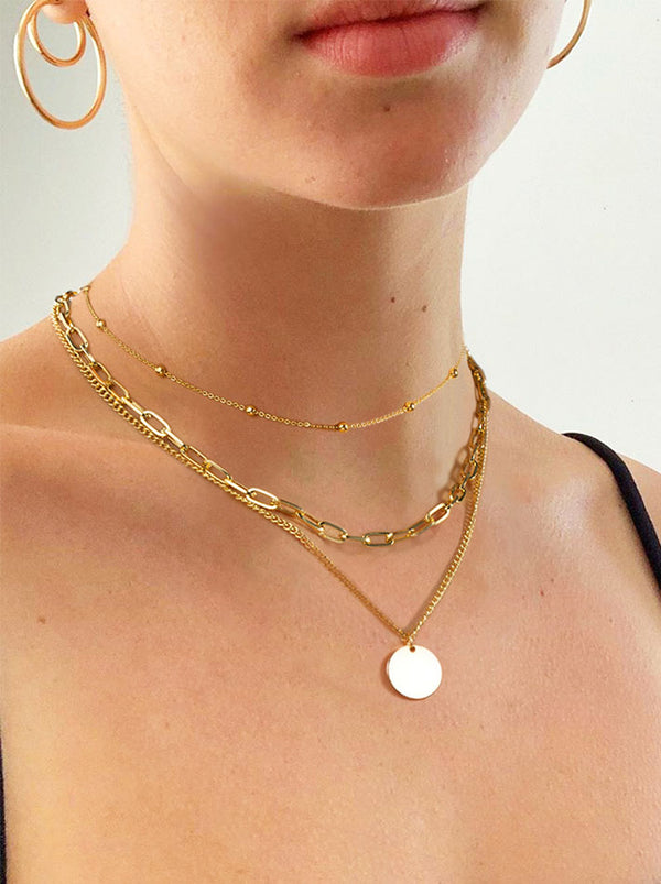 Tri-layered Smooth Disc Necklace Set