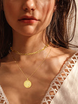 Coin Pendant Double Layered Necklace