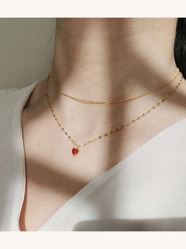 Minimal Red Crystal Heart Pendant Layering Necklace