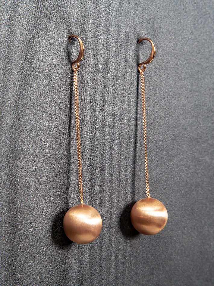 Golden Planet Ball Drop Hooks Earrings