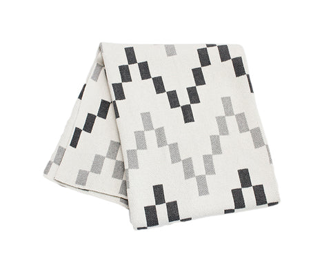 Block Chevron Cotton Knitted Throw Blanket