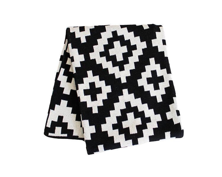 Geo Kilim Cotton Knitted Throw Blanket