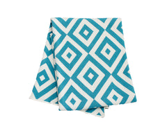 Diamond Eye Cotton Knitted Throw Blanket - Aqua