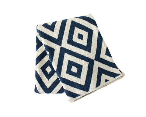 Diamond Eye Cotton Knitted Throw Blanket - Slate Blue