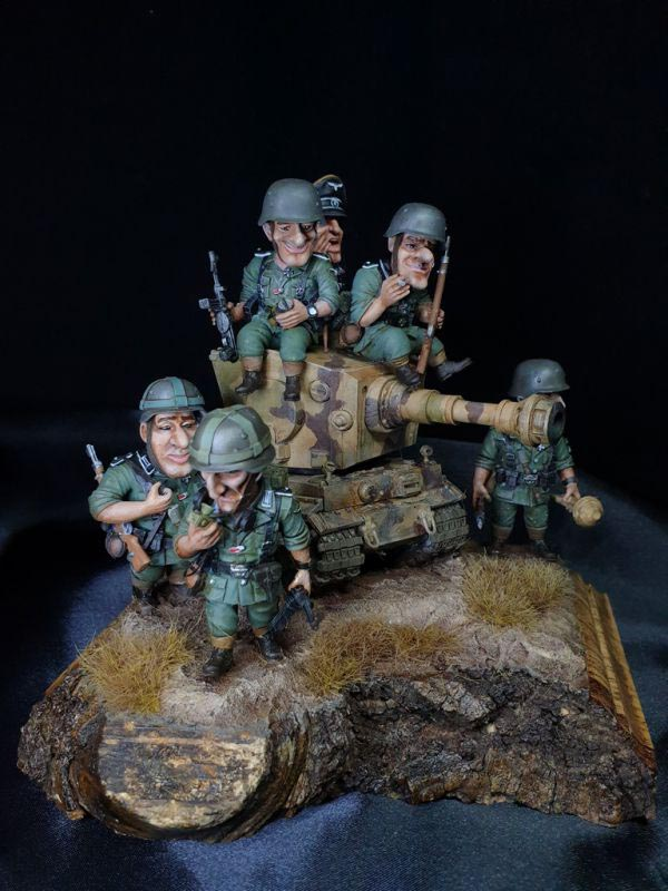 completed diorama tiger tank and german soldiers 1