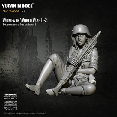 1:35 Model German Female Machine gun Soldier Tiger Tank Crew Military Model Resin Scale Figure YFWW-2065-2