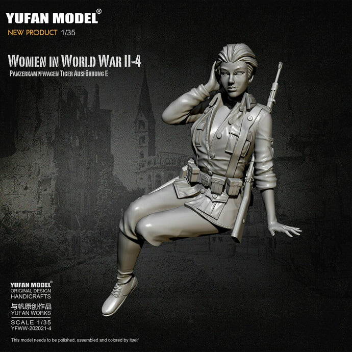 1:35 German Female Infantry Soldier Tiger Tank Crew Model Resin Scale Military Figure YFWW-2065-4 - Yufan Models Store