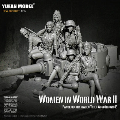 1:35 Full Set German Female Crew for Tiger Tank Model Resin Scale Military Figures YFWW-2065
