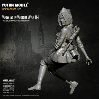 1:35 German Female Soldier Tiger Tank Crew Model Resin Scale Military Figure YFWW-2065-1 - Yufan Models Store