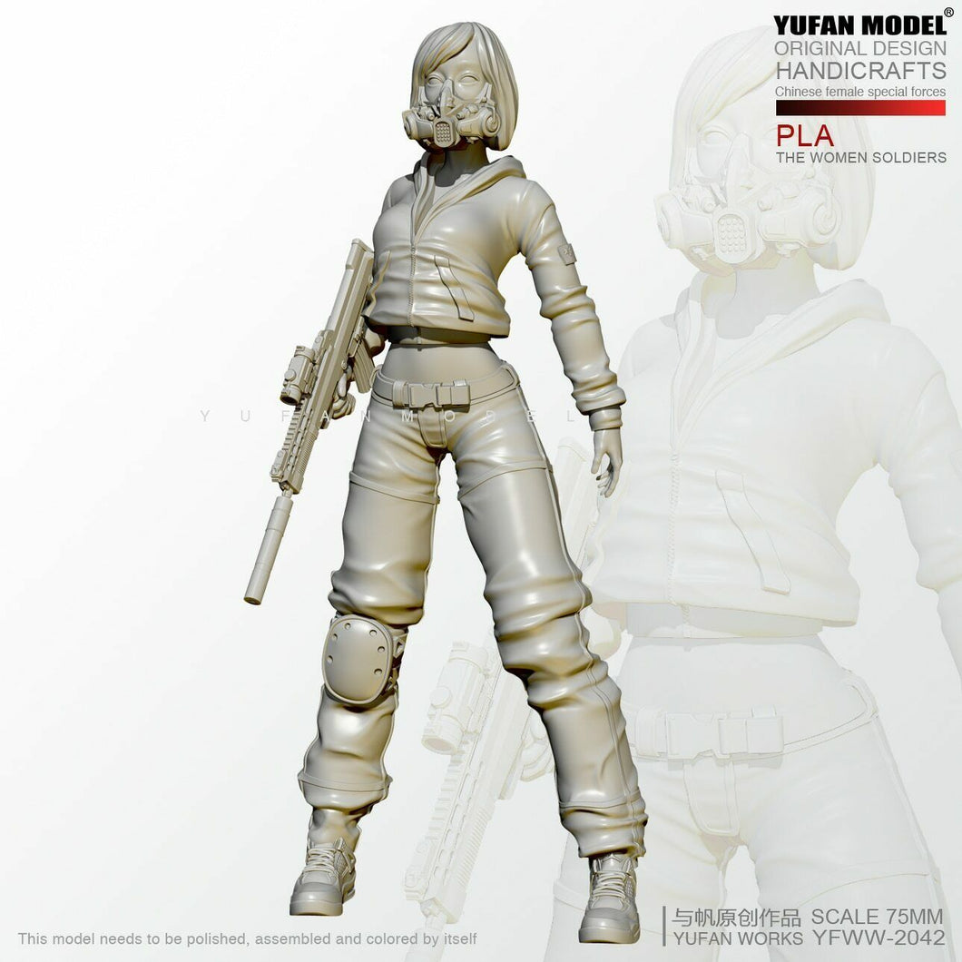 1:24 Female PLA soldier in plain clothes Resin Scale Figure YFWW-2042 - Yufan Models Store