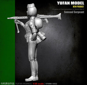 1:35 WWII German Sergeant with Machine Gun Resin Scale Figure YFWW35-1852 - Yufan Models Store