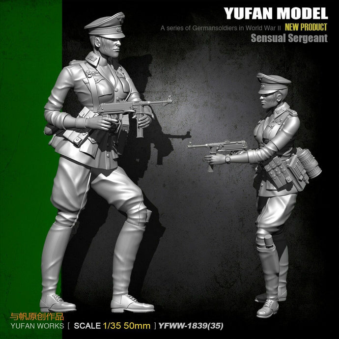 1:35 WWII German Female Sergeant with MP-40 Resin Scale Figure YFWW35-1839 - Yufan Models Store