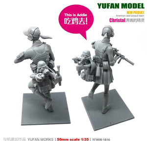 1:35 Tactical Girl with Rabbit Resin Scale Figure YFWW35-1816 - Yufan Models Store