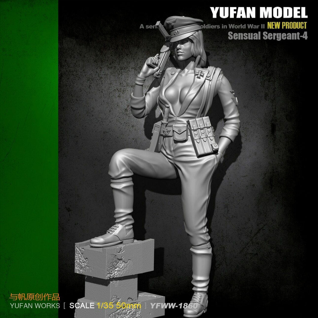 1:35 WWII German Female Sensual Sergeant with MP-40 Resin Scale Figure YFWW35-1860 - Yufan Models Store