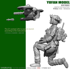 1:35 US Female Yilia Pilot and Drone Resin Scale Figure YFWW35-1817 - Yufan Models Store