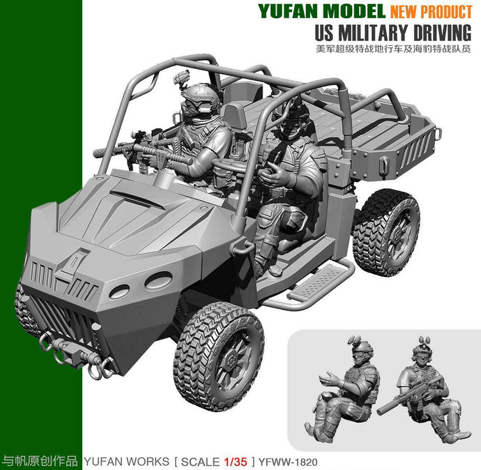 1:35 US SEAL Soldiers Driving Military ATV Resin Scale Figure YFWW35-1820 - Yufan Models Store
