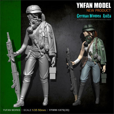 1:35 German Girl Anita Machine Gun Soldier Resin Scale Figure YFWW35-1879 - Yufan Models Store