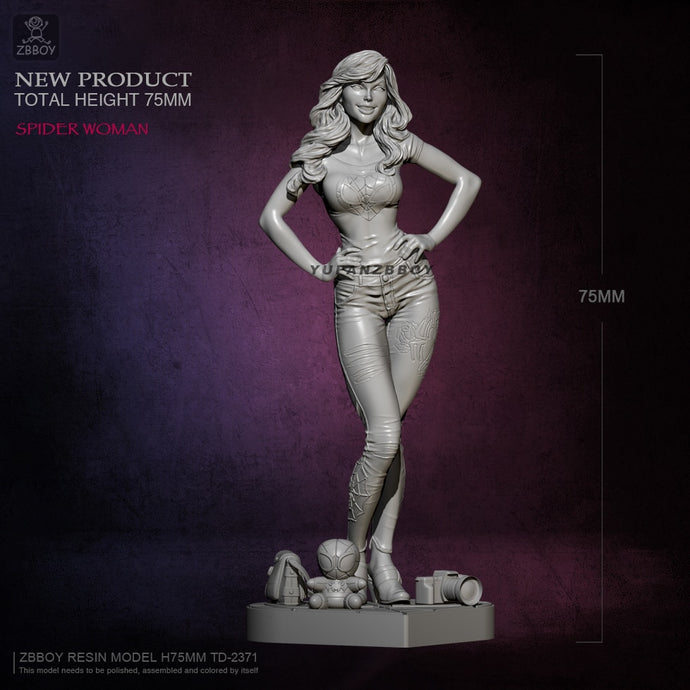 75mm Resin model kits beauty figure self-assembled TD-2371