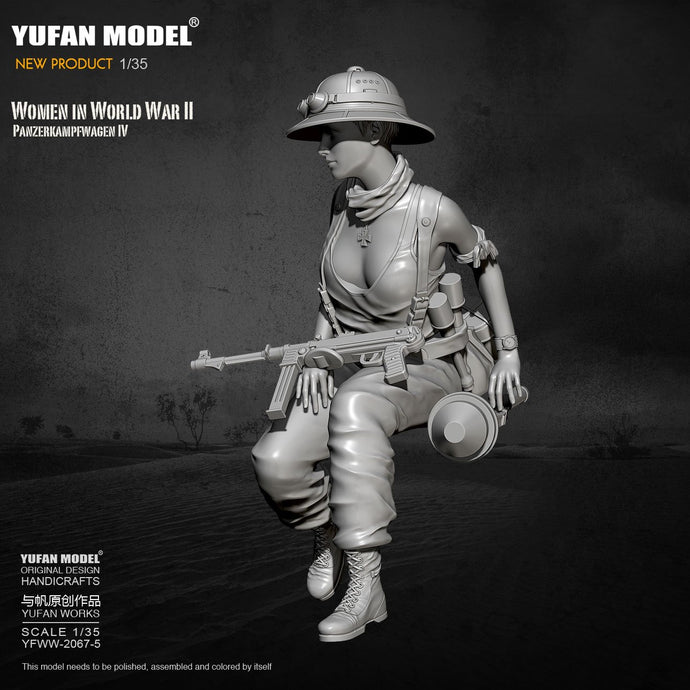 1/35 Yufan model Resin Model Tank soldier beauty self-assembled  YFWW-2067-5