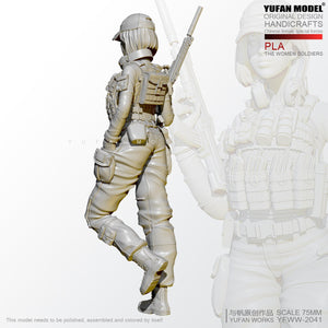 1/24 Resin Figure KitsPLA Female Special Forces Resin Soldier Self-assembled YFWW-2051