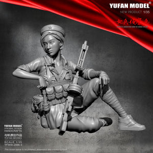 1:35 China Female Scout with RPD Machinegun Model Self-assembled Resin Figure Kits YFWW-2066-3 - Yufan Models Store