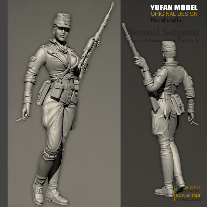 YUFAN Model 1/24 Resin Kits  sexy female gunner resin soldier self-assembled (75mm) YFWW-2030