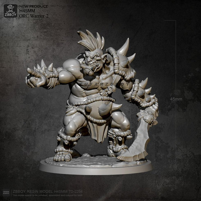 45mm  Resin Model Kits Orc Warrior Figure Self-assembled TD-2254