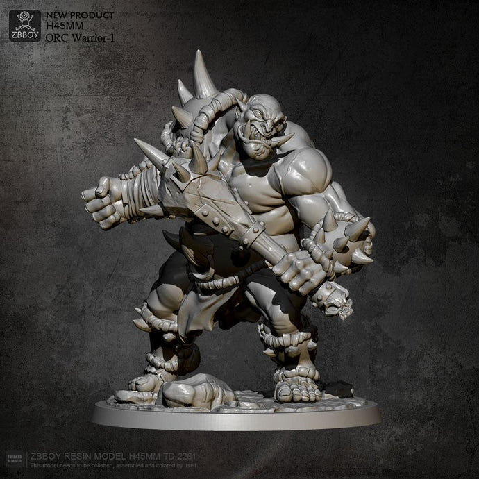 45mm Resin Model Kits Villain orc warrior Figure Self-assembled TD-2261