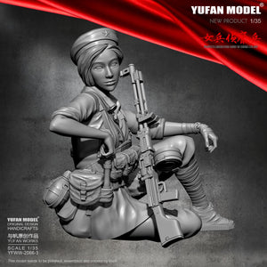 1/35  Resin Figure Kits Yufan Model Female scout Model Self-assembled YFWW-2066-3
