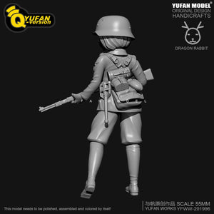 new H55mm Resin Figure KitsYufan Model Q version resin female soldier Self-assembled YFWW35-2058