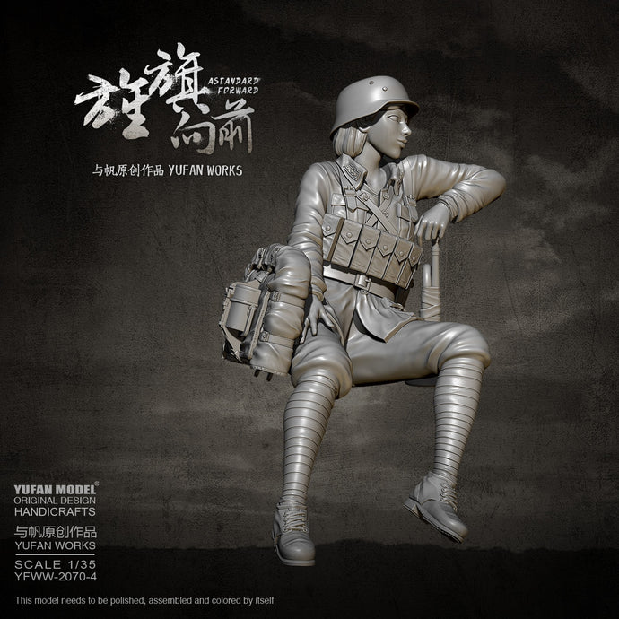 YUFAN MODEL 1/35 Resin model kits Female soldier self-assembled YFWW-2070-4