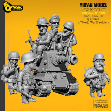 Yufan Model  1/32 Soldier Q version of the soldier 6 plus tank set  Yfww-2015