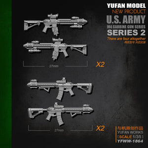 Yufan Model Original 1/35m4 Rifle-2 Resin Soldier Length 2-3CM Model Kit Yfww-1864