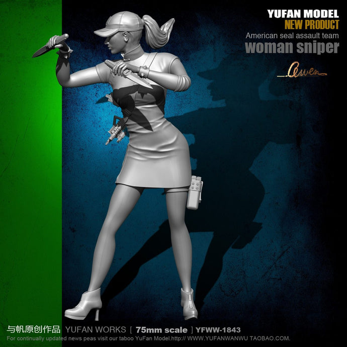 Yufan Model 1/24 Soldier Model  75mm Double-knife Cheongsam Beauty Assassin Resin Soldier  Unmounted Yfww-1843
