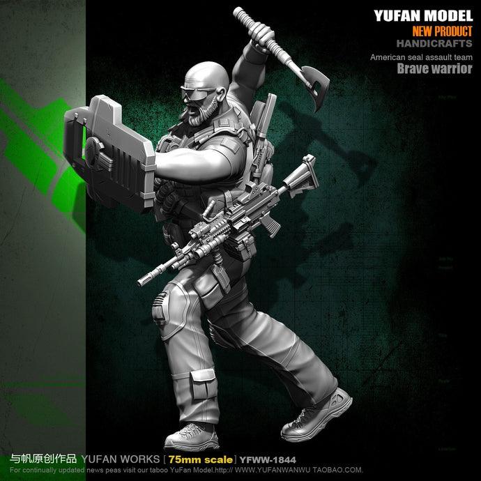 Yufan  Model Figure Kits 1/24 U.s. Army Axer Resin Soldier Model 75mm Colorless And Self-assembel Yfww-1844