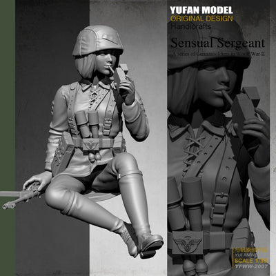 1:35 WWII German Female Soldier With Cigaret Resin Scale Soldier YFWW-2007